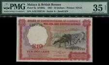Malaya & British Borneo $10 Buffalo Banknote Small A 1961 PMG 35 Choice VF #p9a.