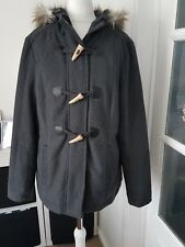 """Ladies """"Marks & Spencers"""" Charcoal Duffle Coat with Hood (Size 10)"""
