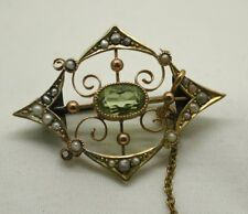 Beautiful Antique 9 Carat Peridot And Seed Pearl Brooch