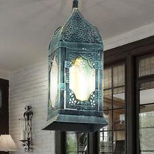 Hänge Pendel Laterne Wintergarten Lampe Wohn Zimmer Decken Leuchte patina grün
