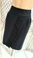 Next UK 8 BNWT £30 Smart Black Ruffle Wiggle Tailored Pencil Skirt Office Work