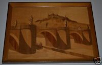 """FRAMED GERMANY MARQUETRY ART """"Weurzburg Germany Castle River"""" 14"""" x 18"""" FRAMED"""