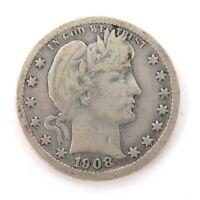.1908 US SILVER QUARTER DOLLAR.