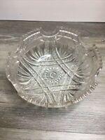 """American Brilliant Clear Cut Glass Crystal Salad Bowl 9"""" Euc"""