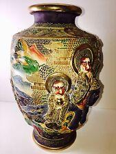 Estate Fresh Vtg Japanese Satsuma Moriage Immortals Porcelain Vase Meiji Signed