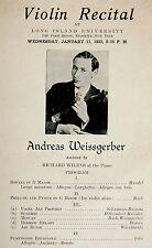 1933 Violin RECITAL PROGRAM Jewish ANDREAS WEISSGERBER Bach LALO Handel DESSAU