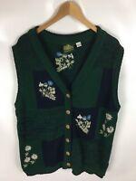 HAMMERSCHMID Trachten Strickweste, grün, Größe 40/42, Ramie, Baumwolle