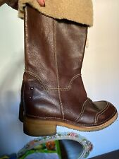 Burberry Boots Brown Leather Fur Shoes EUR 39 US 8 M Rubber Sole Rubber Heel