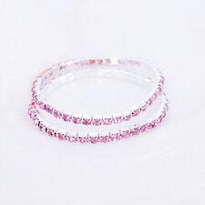 Women Tennis Rhinestone Crystal Silver Wedding Bridal Stretch Bracelets Bangle Pink