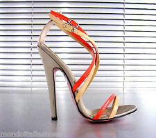 MORI MADE ITALY SANDALS HEEL SANDALETTE SANDALI SCHUHE LEATHER BEIGE ORANGE 45