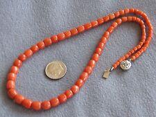 "17""  Vintage Antique Natural Italian Orange Coral Bead Necklace S/S 21.8Gms"