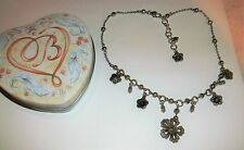 Brighton Silver Plated Flower Floral Beaded Necklace w/ Heart Tin NWOT New