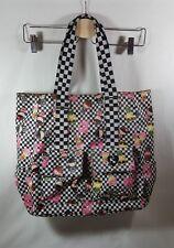 Harajuku Lovers Black Checkered Signature Tote Bag Purse With Girl  Print