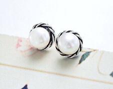 925 Sterling Silver Pearl Stud Earrings 8mm.