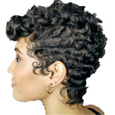 Women Lady Black Dark Short Wavy Curly Wig Synthetic Hair Natural Fashion