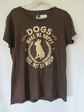 Anvil T Shirt Short Sleeve Dogs Make Me Happy You Not So Much Brown Large  #7523