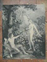 Importante gravure Pointillé scène biblique ADAM ET EVE