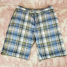"Unbranded Reversible Blue Plaid Brown Mens Shorts 30"" Waist Pockets"