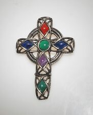 Vintage Signed Solo'or Tarnished Silver Celtic Cross Lucite Cabochon Pin Brooch