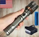 10000LM T6 LED Flashlight Rechargeable Cree XML Tactical Torch Batt+Wall Charger