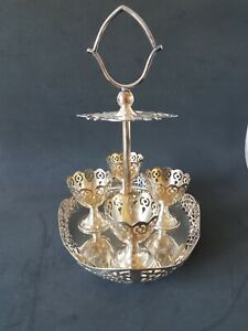 Antique Silver Egg Cup Caddy.