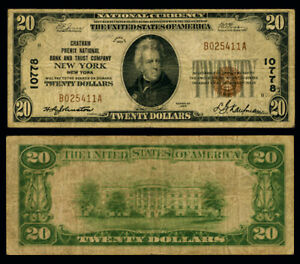 New York NY $20 1929 T-1 National Bank Note Ch #10778 Chatham Phenix NB and TC F