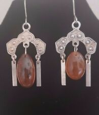 SOVIET ERA Russian Silver 875 and amber earrings