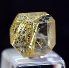 3.5cts GEM QUARTZ GOLDEN RUTILATED FACETED CABOCHON RUTILE PENDANT JEWELRY B519