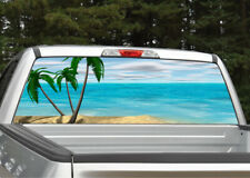 Beach Scene #4 Palm Trees Rear Window Decal Graphic for Truck SUV