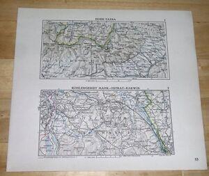 1936 ORIGINAL VINTAGE MAP TATRA ZAOLZIE OSTRAVA POLAND CZECH R. BALATON BUDAPEST