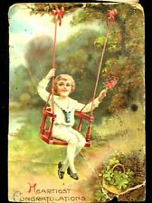 Antique German Valentine Post Card Heartiest Congratulations 2/14/1920 Belton Tx
