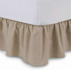 Bed Skirt, Bed Wrap Platform Three Side Coverage 100% Cotton Taupe Solid