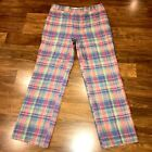 Vtg 60s 70s Mens 35 30 Pants Madras Plaid CORBIN Linen Cotton Suit disco Golf