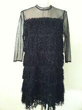 New Zara black fringe dress size L sheer illusion panel club party