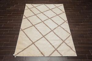 "LoomBloom 6'7"" x 9' Tuffy Shag Modern Oriental Area Rug Ivory Brown"