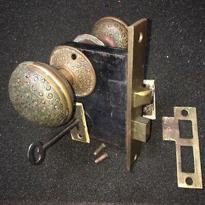 Antique Russell & Erwin Damascene  Bronze  DoorKnobs & Rosettes & Keyholes Cover