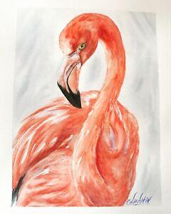 Watercolor original painting Flamingo Art US