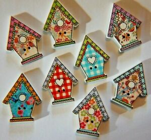 15 x Wood / Wooden Printed BIRD HOUSE BUTTONS ~ Mixed Colour & Patterns ~ 28mm
