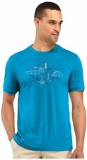 Mens New Icebreaker Tech T Lite SS Shirt All in a Day Size Small Color Aegean