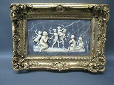 Großes Bild Engel Relief 47 cm x 33 cm Goldrahmen 3 Kg schwer Putto Stuck Barock