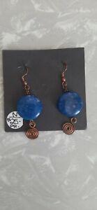 Navajo handmade earrings, blue and copper, brand new, Rae