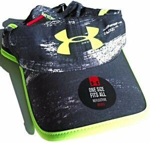NEW Under Armour Mens Printed Reflective Shadow 3.0 Running Cap-Black/Neon Green
