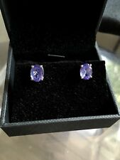 18 CT SOLID WHITE GOLD TANZANITE STUD EARRINGS NEW