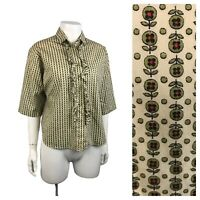 1950s Button Down Blouse / 50s Ruffled Novelty Print Button Up Top / Large