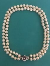 Vintage Natural Warm White SOUTH SEA PEARL Neckless 8.5 mm .18kt & Diamond Clasp