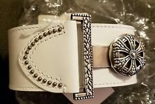 Coldwater Creek Women's White Leather Belt Size 1XL/2XL