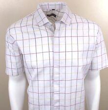 Dominic Stefano Italian Design Check Mens Short Sleeve Shirt (346) 4xl White