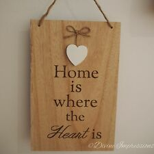 Wooden Hanging Plaque Sign Inspirational - Home Is Where The Heart Is