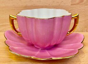 "Wileman Daisy Shape ""Cerise"" Pattern 4044 Twin Handle Cup & Saucer."