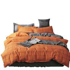 Nordic Geometric Checkered Plaids Orange Grey Bedding Quilt Duvet Cover Set Gift